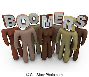 różny, boomers, starszy, wiek, ludzie, -, klasy
