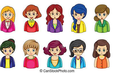 różny, businesswomen, twarze