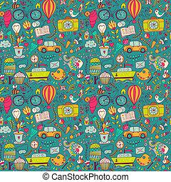 różny, cieszyć się, korzystać, tło, sieć, próbka, strona, seamless, concept., wektor, szkoła, doodles., podróż, romantyk, textures., próbka, życie, dziecinny, powierzchnia, tapeta, nabija, things.