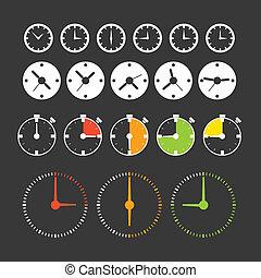 różny, clocks., ikona, zbiór, fazy