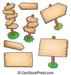 różny, drewniany, poduszeczki, zbiór