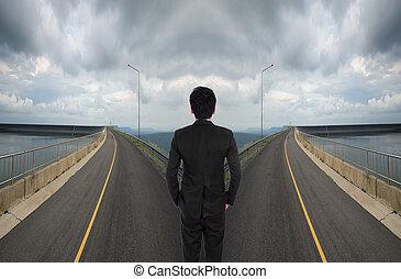 różny, droga, handlowy, postanowienie, między, ma, człowiek