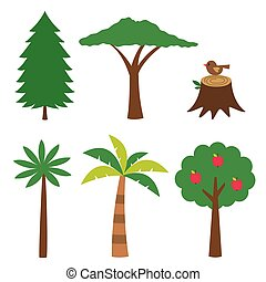 różny, drzewa, komplet, odizolowany, zaprojektujcie elementy