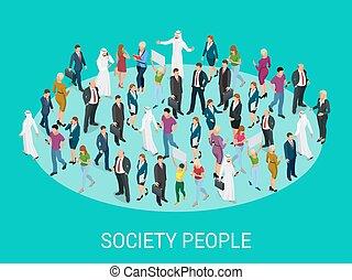 różny, dyskutując, occupations., ludzie, tablica, isometric, społeczeństwo, planowanie, spotkanie, tło, brainstorming