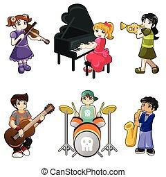 różny, dzieciaki, grając muzyczny instrument