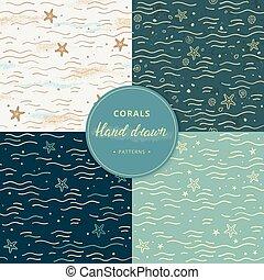 różny, elementy, dodatkowy, seamless, zbiór, wzory, hand-drawn, corals., colors., morze, marynarka