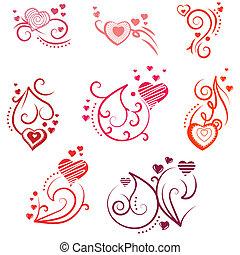 różny, elementy, flourishes, projektować, ozdobny, serca