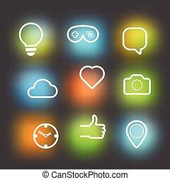 różny, elementy, ikony, set., wektor, projektować