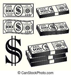 różny, elementy, pieniądze, wektor, obiekty, warianty
