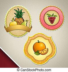 różny, etykiety, owoc