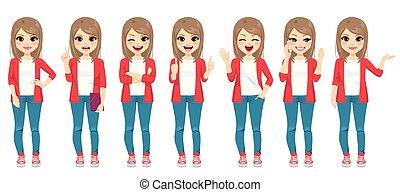 różny, fason, gesty, nastolatek, dziewczyna, przypadkowy