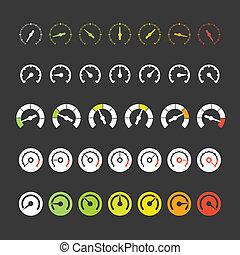 różny, fazy, od, szybkościomierz, ikony