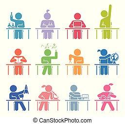 różny, geografia, przedstawiając, ikony, studenci, set., piktogram, historia, szkoła, zbiór, rachunki, chemia, chodząc, chemistry., motywy, nauka, muzyka, classes., wykształcenie, sztuka, ikona