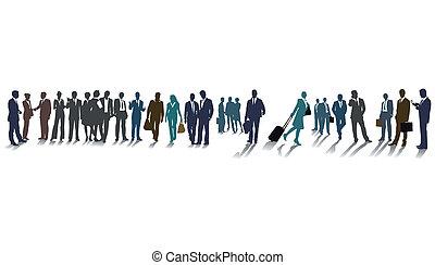 różny, grupa, albo, tłum, ludzie