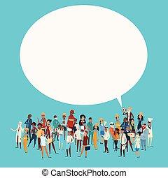 różny, grupa, sieć, ludzie, chorągiew, pracownicy, zmieszać,...