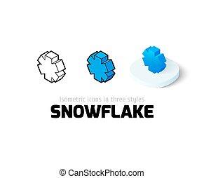 różny, ikona, styl, płatek śniegu
