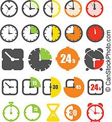 różny, ikony, kolor, odizolowany, chronometrażysta, zbiór, ...