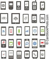 różny, ikony, ruchomy, ekran, gadżety, abstrakcyjny