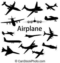 różny, illustration., silhouettes., zbiór, wektor, samolot