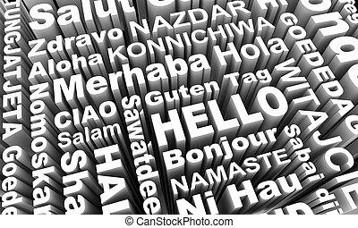różny, ilustracja, języki, powitania, słówko, powitanie, 3d