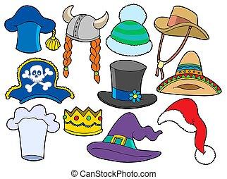 różny, kapelusze, zbiór