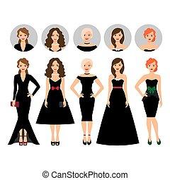 różny, kobieta, czarnoskóry, młody, stroje