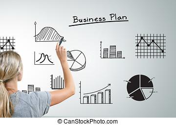 różny, kobieta handlowa, wykresy, wykresy, plan, rysunek