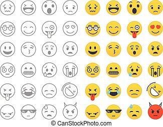 różny, kolor, emoji, zbiór, odizolowany, na, white., wektor, clip-art