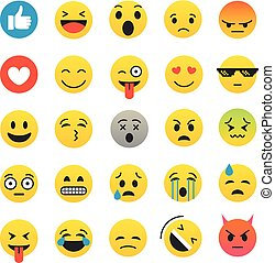 różny, kolor, emoji, zbiór, odizolowany, na, white., wektor, ikona, komplet