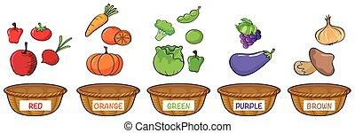 różny, kolor, warzywa, owoce