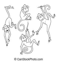 różny, kolorowanie, komplet, book:, pozy, małpy
