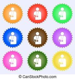 różny, komplet, barwny, poznaczcie., inwalidztwo, labels., złamana ręka, wektor, dziewięć, ikona