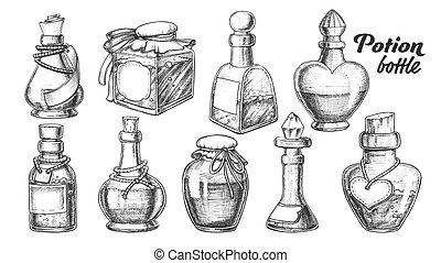 różny, komplet, butelki, zbiór, wektor, potion