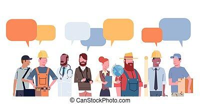 różny, komplet, grupa, ludzie, pracownicy, zawód, zbiór, ...