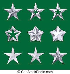 różny, komplet, gwiazdy, ikony