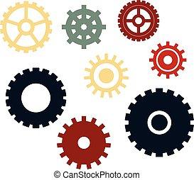 różny, komplet, icons., wektor, mechanizmy, gears.