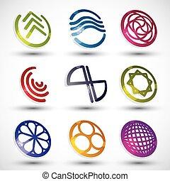 różny, komplet, ikony, abstrakcyjny, modeluje, wektor, 2.