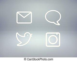 różny, komplet, ikony, media, wektor, towarzyski