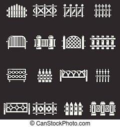 różny, komplet, ikony, szermierka, szary, wektor
