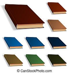 różny, komplet, kolor, książki, dziewięć, czysty