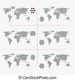 różny, komplet, kropkowany, mapy, świat, rozkład