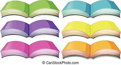 różny, komplet, książki, kolor