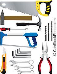 różny, komplet, narzędzia, ręka