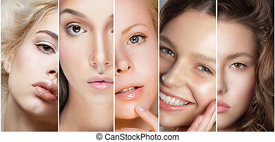 różny, komplet, piękno, ustalać, collage., do góry, damski, twarze