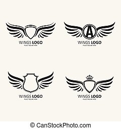różny, komplet, skrzydlaty, heraldyczny, początkowy, korony, modeluje, litera, tarcze, ikona