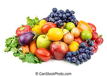różny, komplet, warzywa, odizolowany, tło, owoce, biały
