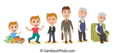 różny, komplet, wieczność, grandfather., mężczyźni, dziecko...