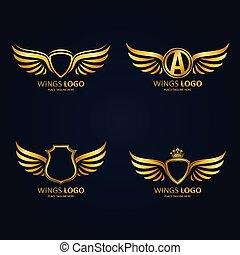 różny, komplet, złoty, skrzydlaty, heraldyczny, początkowy, korony, modeluje, litera, tarcze, ikona