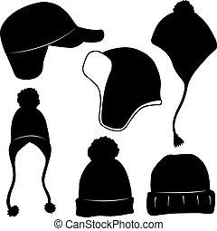 różny, komplet, zima kapelusze