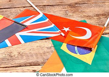 różny, kraj, bandery, na, stół.